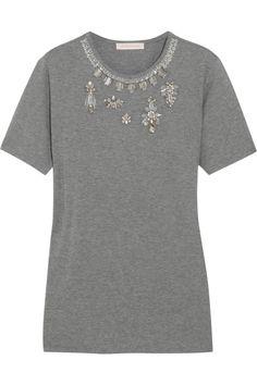 Matthew Williamson Embellished cotton-blend T-shirt NET-A-PORTER.COM