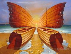 This is a Russian painting from 2008 by Gennady of a two totally wooden sailboats about to sail that make the illusion of a butterfly together with the sun and it's reflection in the water.  Why are the sails worn out?  Does it suggest something about the butterfly?