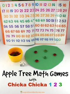 Apple Tree Math Games with Chicka Chicka 1, 2, 3 - Practice counting, addition, and making patterns with this fun book!