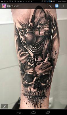 Tattoos And Body Art popular tattoo designs Evil Clown Tattoos, Creepy Tattoos, Badass Tattoos, Skull Tattoos, Leg Tattoos, Body Art Tattoos, Flower Tattoos, Skull Tattoo Design, Tattoo Sleeve Designs