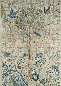 One of a pair of embroidered bed curtains designed by May Morris ( 1862-1938 ) in 1891-2 and stitched between 1898 and 1902. Source: Christie's.com
