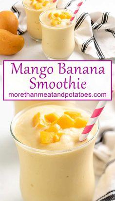 Smoothies Banane, Mango Banana Smoothie, Mango Smoothies, Banana Drinks, Banana Fruit, Mango Fruit, Oatmeal Smoothies, Breakfast Smoothies, Fruit Smoothie Recipes