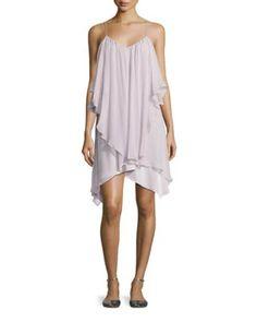 TVLZ2 Haute Hippie All This & Heaven Too Silk Layered Dress, Antiqued-White
