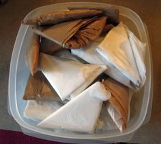 "Another pinner wrote: ""How to Fold Plastic Grocery Bags -   Awesome!  I had my bags taking up a whole drawer and now they're taking up just a small area.  It didn't take long to do and works on all sized bags (I even folded up the large target ones).  Simply Brilliant idea."" I am both mesmerized at the OCD idea of ""neatly"" folding plastic grocery bags and the simple folding method ..."