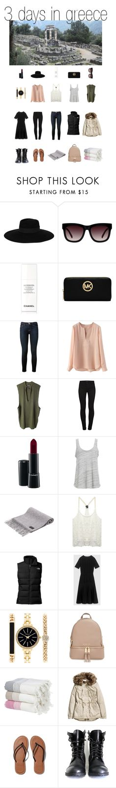"""""""3 Days in Greece"""" by emibrutus ❤ liked on Polyvore featuring Maison Michel, Chanel, Michael Kors, Frame Denim, adidas Originals, J Brand, MAC Cosmetics, Project Social T, Wet Seal and The North Face"""