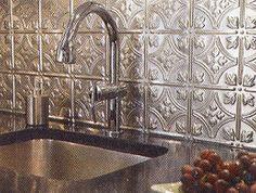 Stamped metal backsplash! I have this in my kitchen behind the sink