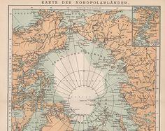 Viejo mapa de mapa del Polo Norte mapa por AncientShades en Etsy