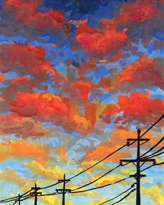 Malerei Power Lines 57 gouache ORIGINAL ART Acrylic Painting Ideas acrylic painting ideas Art Gouache lines Malerei Original power Simple Canvas Paintings, Small Canvas Art, Mini Canvas Art, Cool Paintings, Sunset Paintings, Landscape Paintings, Landscape Art, Cool Artwork, Watercolor Art Landscape