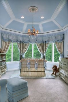 Blue Royal Prince Nursery - love the classic, regal design of this baby room!