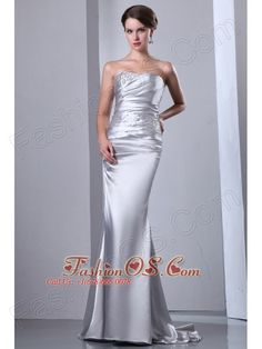 Gorgeous Sliver Strapless Elastic Wove Satin Mermaid Prom Dress- $139.23  http://pinterest.com/fashionos/  http://www.youtube.com/user/fashionoscom?feature=mhee  If you're looking to make a lasting impression at your upcoming formal event, this stunning dress can make sure that you do. This gorgeous silver mermaid dress features strapless neckline with ruching and beading in the bodice.
