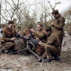 British soldiers of the 2/7th Middlesex Regiment carry out maintenance on a Vickers machine gun at Anzio, Italy, 21 February 1944. 2nd/7th At the outbreak of War, the 2/7th Bn was part of the 6th...