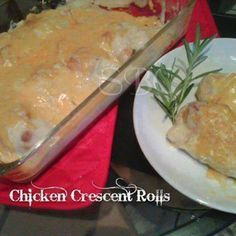 ✿CHICKEN CRESCENT ROLLS✿ oh this is sooooo good! #comfortfood #yummy  2 cans of low fat refrigerator crescents… 1 can of healthy low sodium cream of chicken soup(26oz) 1 cup fat free cheddar cheese 2 boneless skinless chicken breast  Boil the chicken breast then shred. Roll out each individual crescent, place about a Tbsp of shredded chicken in center and roll it up to make a crescent roll.  Bake at 350 degrees for about 5 minutes until just starting to turn golden. Pour Cream of chicken…