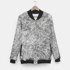 """Grey and white zentangles"" Unisex Baseball Jacket by Savousepate on Live Heroes #baseballjacket #clothing #apparel #pattern #graphic #modern #abstract #doodles #zentangles #scrolls #spirals #arabesques #grey #gray #blackandwhite"