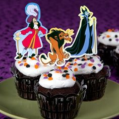 These vile Disney Villain cupcake toppers keep your Halloween party from being too sweet.