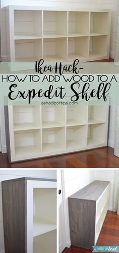 "Want to update your IKEA Expedit or Kallax Bookshelf? Then this is an easy tutorial for you. I added wood to my shelf to give it that little bit of an extra rustic look for my ""Rustic Glam Nu…"