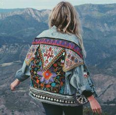 Jacket: red colorfull blue purple denim multicolor embroidered embroidered coat denim indie boho