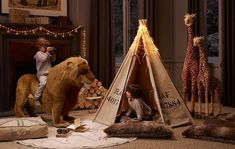 Life-sized stuffed animals (and a teepee). | 32 Things That Belong In Your Child's Dream Room