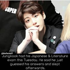 (Kookie don't get 4/100 again) Me, except I really love literature and actually finish the paper really quick and sleep afterwards