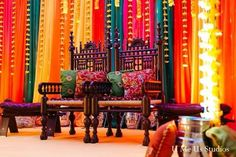 This Pakistani bride and groom prepare for their beautiful wedding with a bright and festive mehndi party! Desi Wedding Decor, Wedding Stage Decorations, Engagement Decorations, Wedding Ideas, Anniversary Decorations, Wedding Blog, Wedding Events, Wedding Reception, Dream Wedding