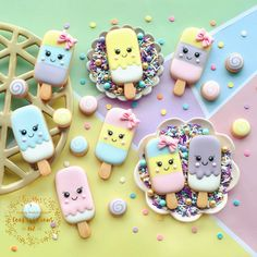 Sugar Cookie Royal Icing, Best Sugar Cookies, Iced Cookies, Ice Cream Cookies, Ice Cream Desserts, Cute Desserts, Kawaii Cookies, Cute Cookies, Ice Cream Theme