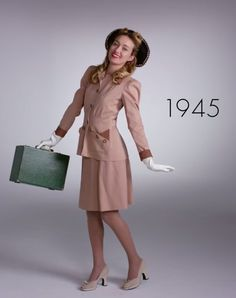 Pin for Later: Watch 1 Woman Wear 100 Years of Fashion Trends in 2 Minutes 1945