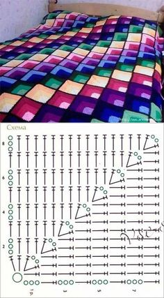 Ideas For Crochet Stitches Patterns Diagram Charts Ganchillo Crochet Bedspread Pattern, Granny Square Crochet Pattern, Crochet Blocks, Crochet Diagram, Crochet Stitches Patterns, Crochet Chart, Crochet Squares, Crochet Motif, Crochet Designs