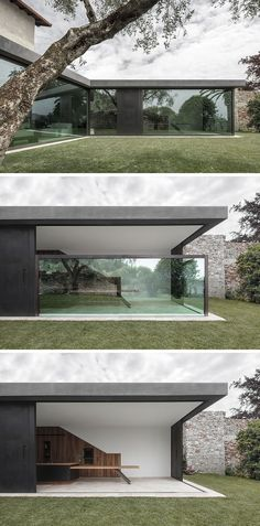 This Italian Villa Has Glass Walls That Disappear Into the Floor Bergmeisterwolf have designed a modern extension for a house in Italy that features vertical sliding windows that can disappear into the ground. Minimalist House Design, Minimalist Architecture, Minimalist Home, Modern House Design, Contemporary Architecture, Interior Architecture, Modern Glass House, Architecture Layout, Architecture Artists