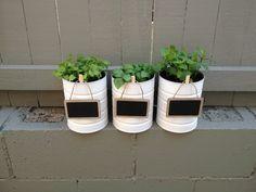 Baby formula tins make cute herb pots!