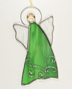 Stained Glass Suncatcher Angel 6 inch tall, green and clear color glass, silver color metal, handmade Stained Glass Angel, Stained Glass Ornaments, Stained Glass Suncatchers, Stained Glass Projects, Stained Glass Patterns, Glass Jewelry, Crystal Jewelry, Jewelry Shop, Mens Sterling Silver Necklace