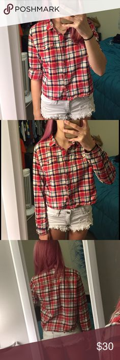 """Red Plaid Long Sleeve Button Up Shirt Red/blue/white/yellow plaid long sleeve button up shirt. I don't remember where it's from, marked Forever 21 for exposure. Says size L (crop top) but fits as a size S (full length top). Excellent used condition. Bundle 2 or more things for 10% off, and feel free to make an offer! If you want to know my measurements, check my """"Meet Your Posher"""" listing! If you have any other questions, feel free to ask!❤ Forever 21 Tops Tees - Long Sleeve"""