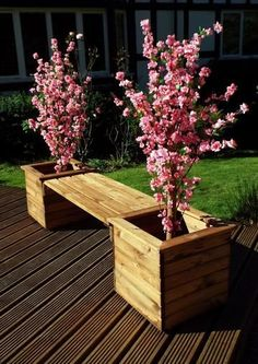 garden bench Charles Taylor Planter Bench Handcrafted in the UK. Quality solid Scandinavian Redwood from sustainable sources. All wood treated with an oil-based Taylor Brown preservative to protect against inclement weather. Outdoor Garden Bench, Wooden Garden Planters, Outdoor Planters, Concrete Planters, Diy Planters, Flower Planters, Outdoor Gardens, Wood Pallet Planters, Fence Planters