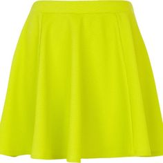 River Island Lime textured skater skirt ($14) ❤ liked on Polyvore featuring skirts, sale, river island, lime green skirt, lime skirt, flared skirt and skater skirt