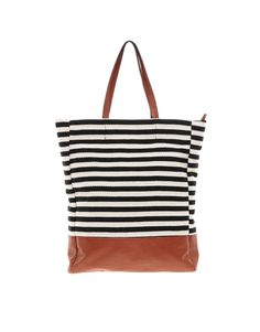 Striped Leather Shopper // ASOS