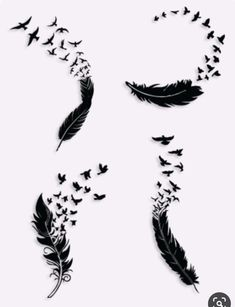 Feather With Birds Tattoo, Feather Tattoo Design, Feather Tattoos, Foot Tattoos, Cute Tattoos, Body Art Tattoos, Sleeve Tattoos, Feather Tattoo Cover Up, Feather Tattoo Behind Ear