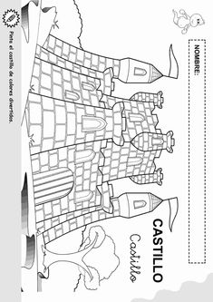 Imrpimir actividades para niños. Objetos con nombre para colorear 5 Castle Drawing, Album Covers, Diagram, Carnival, Pencil, English, Fairy Tail, Castles, Short Stories