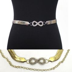 Women Fashion Bling Full Metal Chain Hip Waist Belt Gold Silver Rhinestone Bow in Belts | eBay