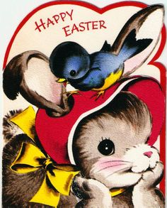 Vintage Greeting Card Bunny and Bluebird
