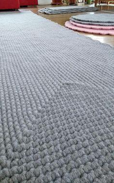 Big Rug Runner Grey Wool Crochet Rectangular carpet Bedroom
