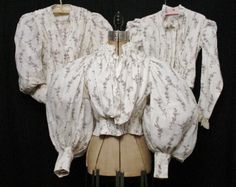 1890s bodices. 3 different shapes, in the same sheer printed cotton.