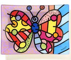 334085 Romero Britto Plate Butterfly