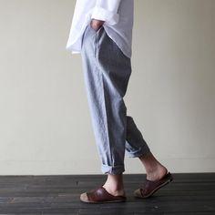 striped cotton turnip pants left