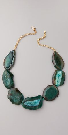 Kenneth Jay Lane Chain & Natural Stone Necklace in Apple Green.