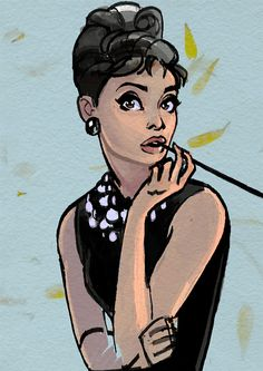 Audrey Hepburn in the style of Earl Oliver Hurst