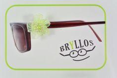 Bryllos, der Brillenknopf - Blüte Stoff mit Perlen gelb-grün