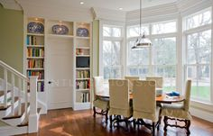 Mint Julep |Mint Locations Built Ins, Corner Desk, Bookcase, Dining Room, Mint, Shelves, House, Furniture, Home Decor