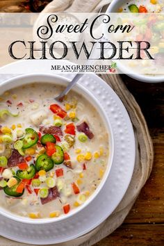 Sweet Corn Chowder is the perfect way to warm up when the weather turns frightful but it's also adaptable enough to be enjoyed throughout the year. We elevate fresh seasonal vegetables and create a chowder that is restaurant-worthy in less than an hour! Chef Recipes, Side Dish Recipes, Healthy Dinner Recipes, Vegetarian Recipes, Cooking Recipes, Vegetarian Lifestyle, Cooking Ideas, Delicious Recipes, Easy Recipes