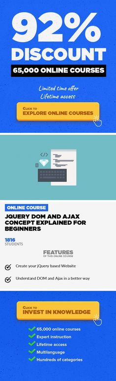 JQuery DOM and Ajax Concept Explained for Beginners Web Development, Development #onlinecourses #onlinecollegecourses #onlinelearninglogoLearn Fundamental jQuery as per the Current Industry Demands. Overview JQuery is a popular JavaScript library that is used extensively in modern websites. This library facilitates common JavaScript tasks for example event management, cartoons, manipulating HTML...