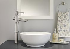 Danze Bathroom White Round Vessel Sink Single Handle Faucet Ring Towel Holder White Mirror