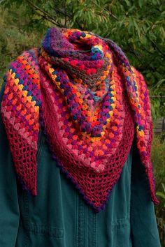 Châle chèche au crochet half-granny square tons