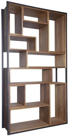 Knots, gouges, cracks and nail holes are inherent characteristics of this retro Walnut wood and metal bookcase. Different size boxes make a cohesive shelving unit and provide ample display space for y Living Room Partition, Room Partition Designs, Living Room Storage, Bauhaus, Retro Home Decor, Diy Home Decor, Metal Bookcase, Modern Bookcase, Modern Shelving